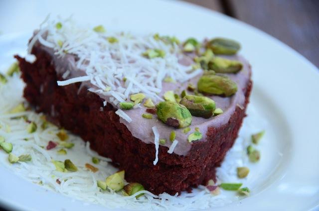 Raw Chocolate Beetroot Cake wit Raspberry Cashew Cream Frosting.