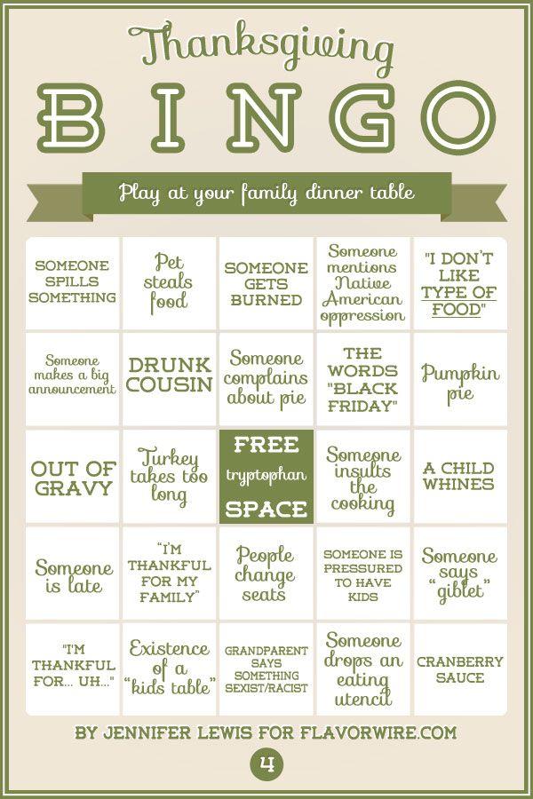 family bingo thanksgiving meal