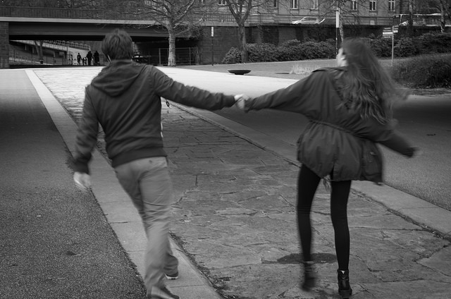 couple running holding hands love