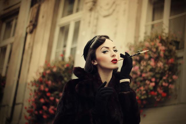 elegant woman smoking