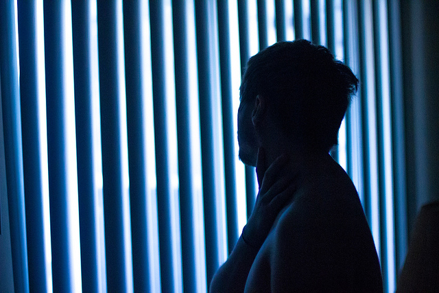depressed man blue