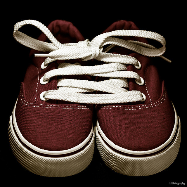 shoes laced together