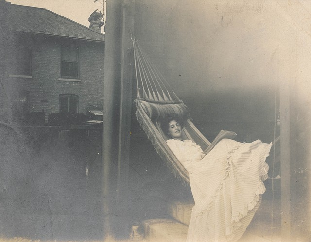 vintage woman hammock rest happy