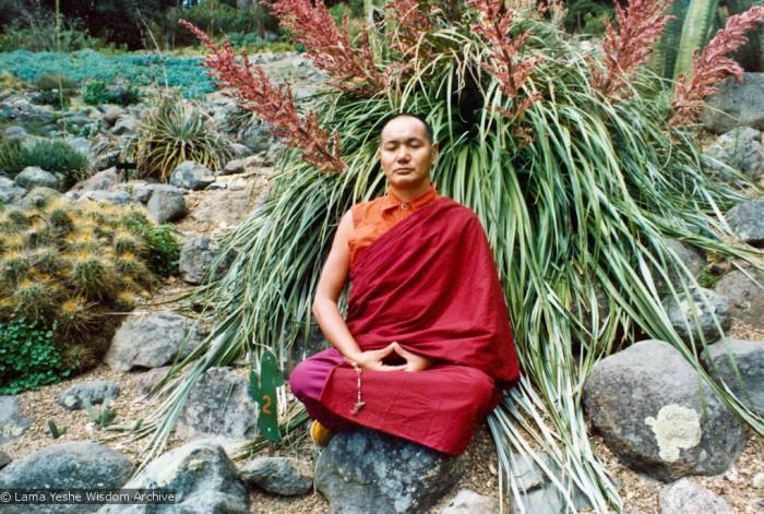 Lama meditating, California, 1974