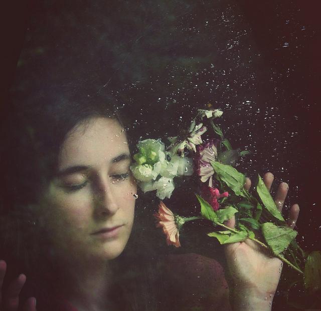 sad, flowers, rain