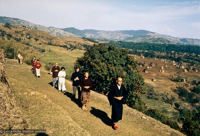Walking meditation at Kopan, 1971