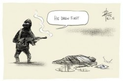 response to Charlie Hebdo murders by David Pope