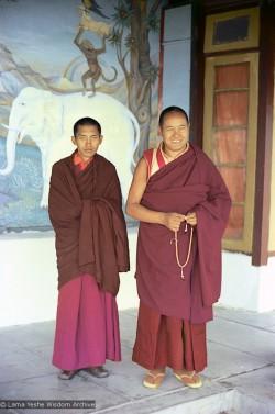 Lama Yeshe and Lama Zopa on the veranda at Tushita , 1973