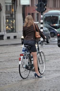 Girl on bike Netherlands:Holland