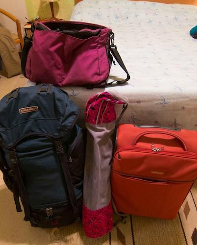 Luggage and yoga mat