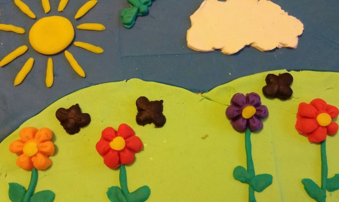 play doh, flowers, kids