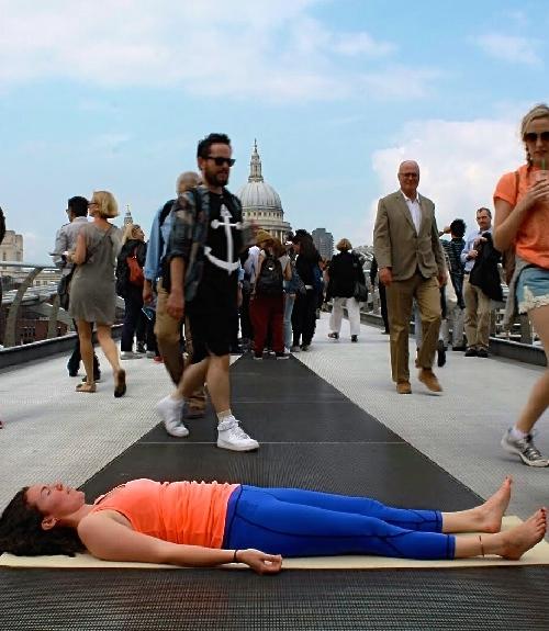 yoga, savasana, public space, business