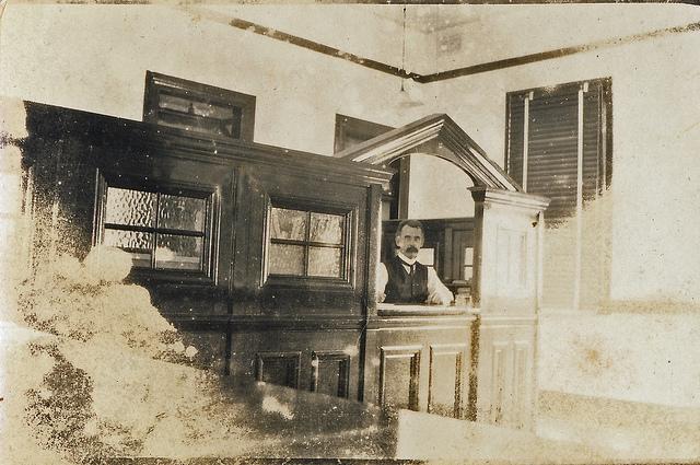 vintage bank teller