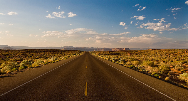 desert road, highway, desolate, alone, nature