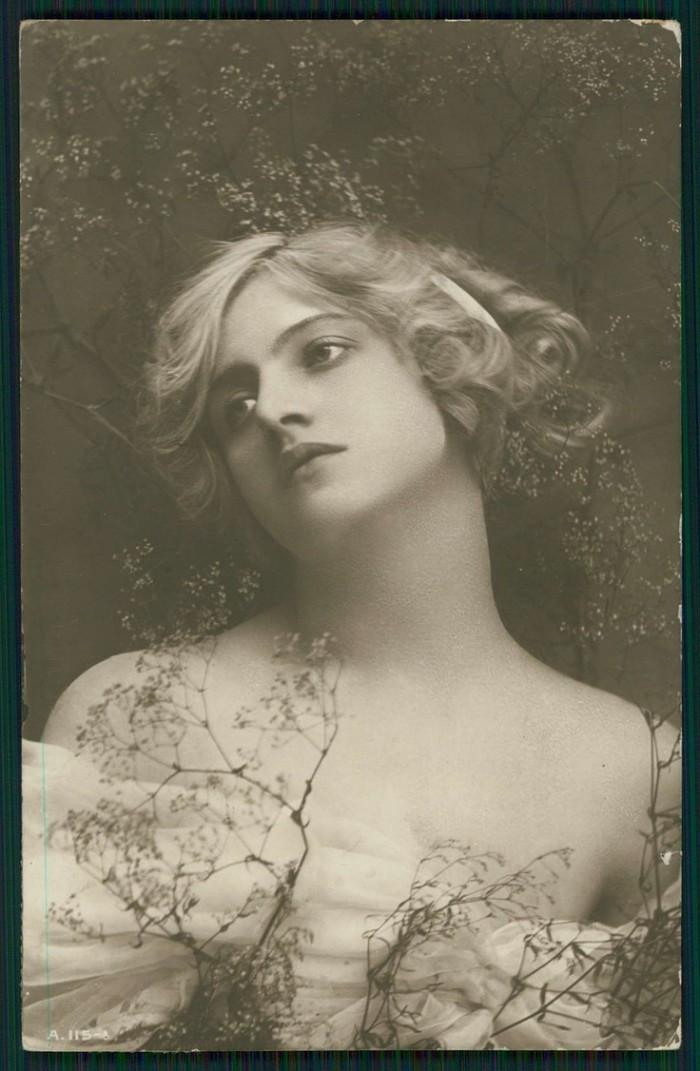 woman vintage postcard 1910 public domain