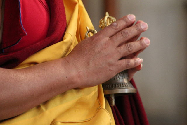 Buddhist monk, bell, chanting
