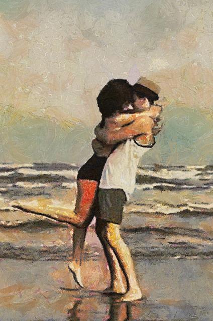 beach hug couple love
