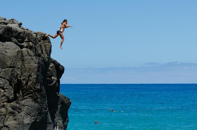 cliff jump, jump, soar, free