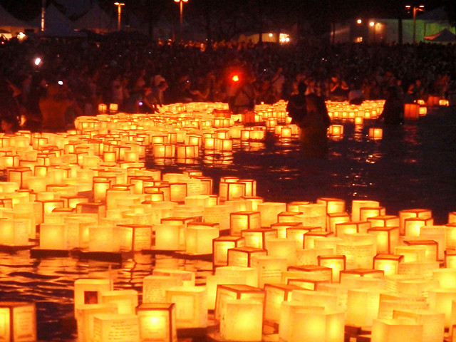 Floating lanterns.