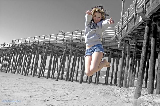 Beach, Jump, joy