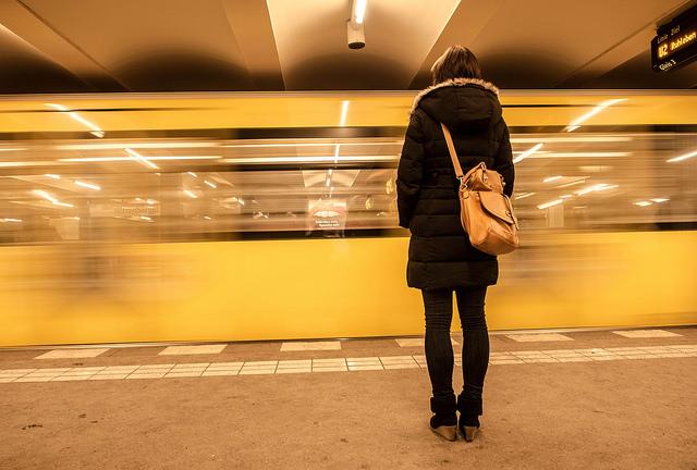 Girl woman alone metro subway