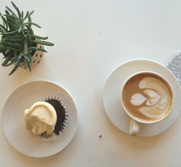 Vegan cupcake coffee date work cafe