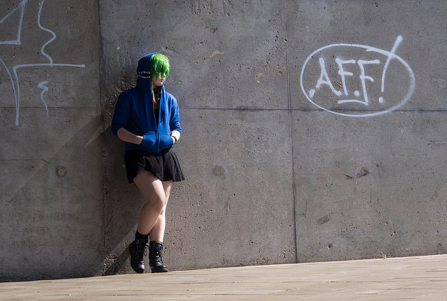 punk girl woman alone