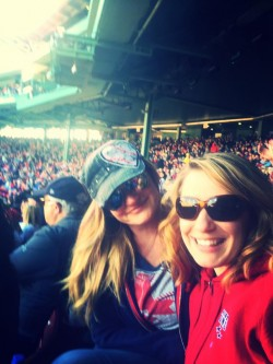 red sox girls kate rose and family at fenway, authors own