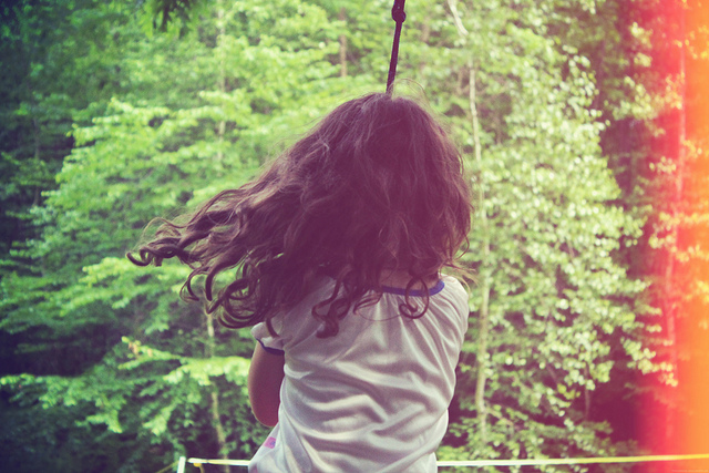 little girl, swing