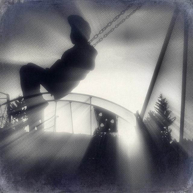 Little boy, playground, swing
