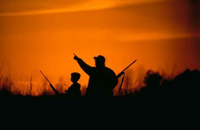 father and son, hunting