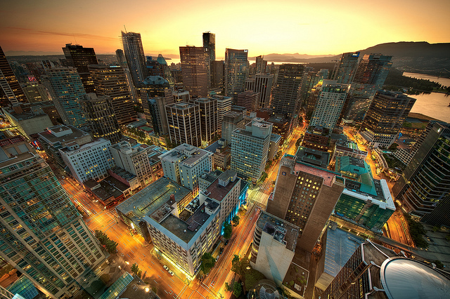 vancouver city night sunset downtown