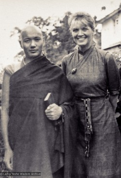 (15047_pr.psd) Lama Yeshe (left) with Zina Rachevsky. In 1966 Zina rented the Altomont House (also referred to as Villa Altomont) in Darjeeling, India and in 1967 she invited the Lama Yeshe and Lama Zopa Rinpoche to live there and teach her the fundamentals of Buddhism. They stayed in Zina's small, glassed-in summerhouse for nine months. (Photo used with permission of the estate of Zina Rachevsky.)