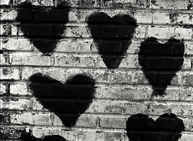 hearts on bricks
