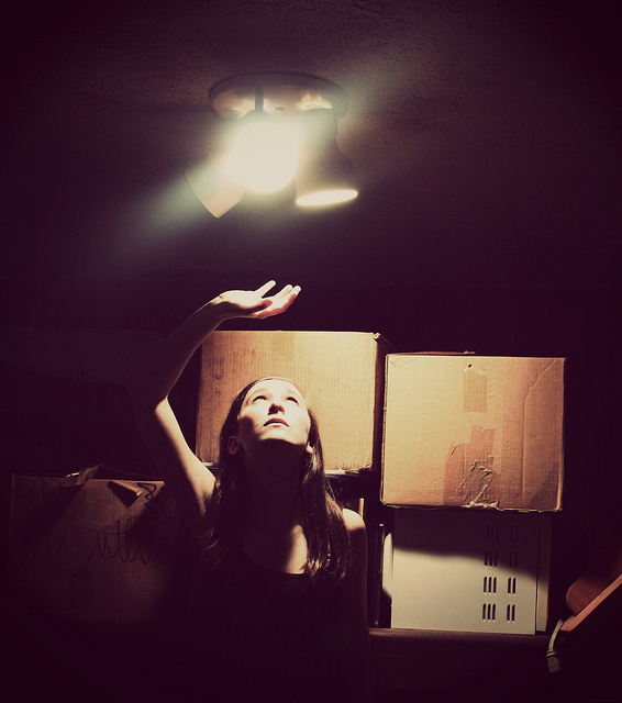 girl, boxes, moving