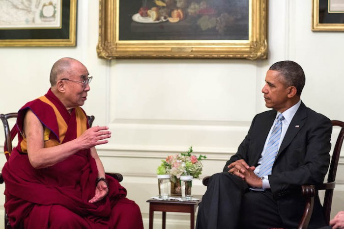 President Barack Obama meets with the Dalai Lama in the Map Room of the White House, Feb. 21, 2014. (Official White House Photo by Pete Souza) This official White House photograph is being made available only for publication by news organizations and/or for personal use printing by the subject(s) of the photograph. The photograph may not be manipulated in any way and may not be used in commercial or political materials, advertisements, emails, products, promotions that in any way suggests approval or endorsement of the President, the First Family, or the White House.