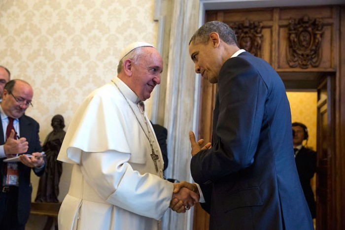 President Barack Obama bids farewell to Pope Francis following a private audience at the Vatican, March 27, 2014. (Official White House Photo by Pete Souza) This official White House photograph is being made available only for publication by news organizations and/or for personal use printing by the subject(s) of the photograph. The photograph may not be manipulated in any way and may not be used in commercial or political materials, advertisements, emails, products, promotions that in any way suggests approval or endorsement of the President, the First Family, or the White House.