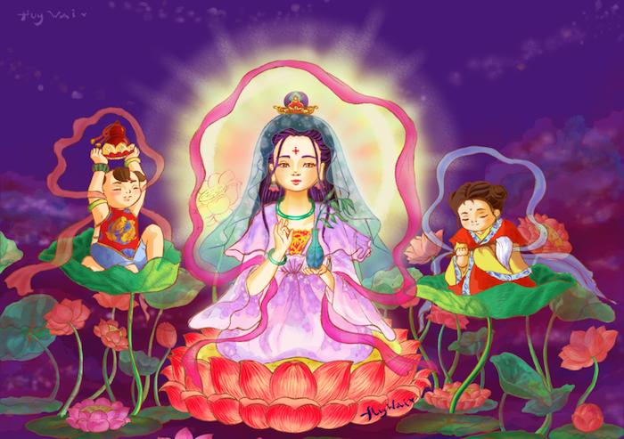 avalokitesvara_bodhisattva_and_baby_faries_by_huywai-d5s51ej