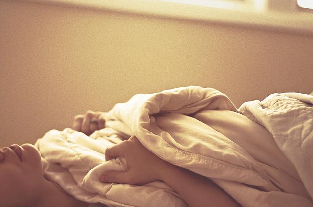bed girl woman sad depressed peace morning sleep