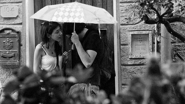couple rain umbrella love