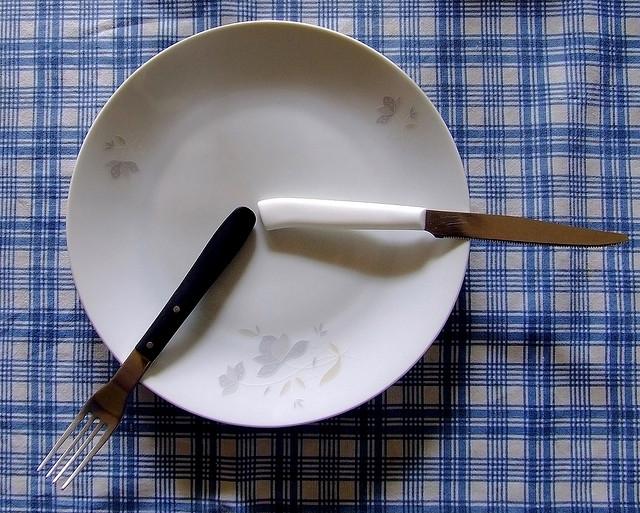 plate fork knife eating fasting
