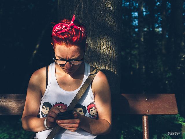 woman on phone tinder