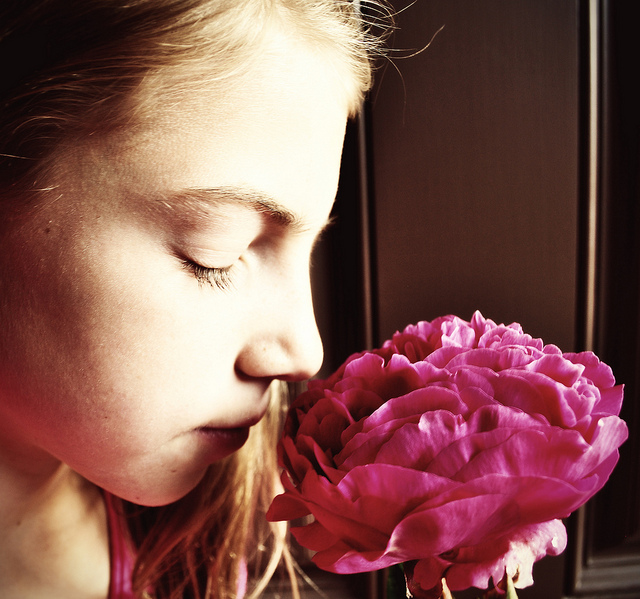 girl, flower,