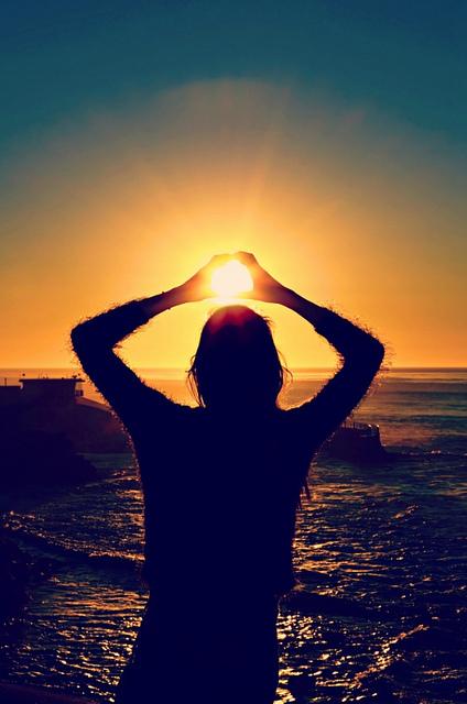 girl, sun, light, heart