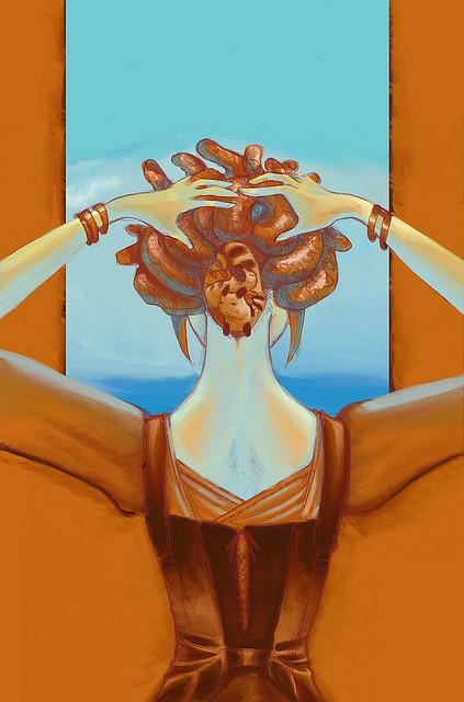 art woman window