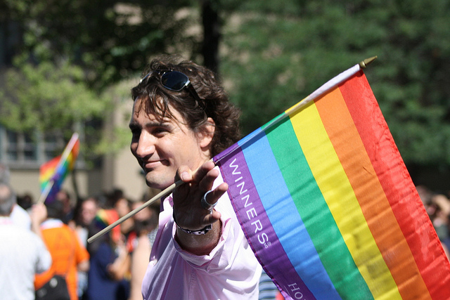 justin with pride flag