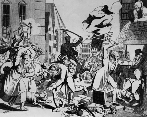 """Die sogenannten """"Hep-Hep-Krawalle"""" in Frankfurt am Main, Antisemitische Ausschreitungen in Deutschland 1819; Radierung, zeitgenössischOriginal: Frankfurt am Main, Historisches MuseumStandort bitte unbedingt angeben!;"""