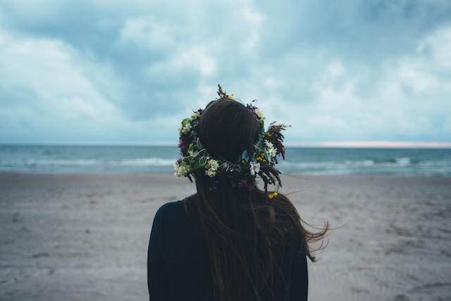 girl, woman, beach, flower crown, dreams, thinking
