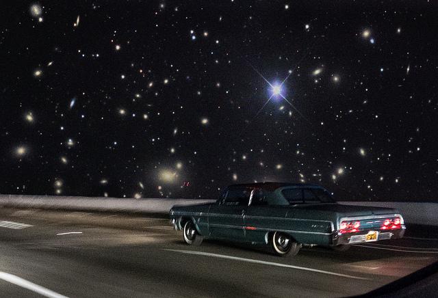 road trip old car night sky stars freedom