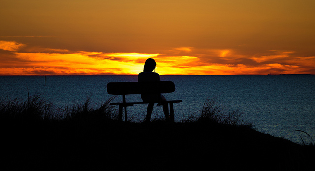Silhouette, Sunset, Woman